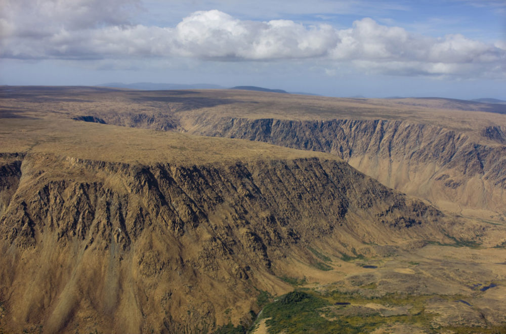 Aerial of Tablelands, Gros Morne